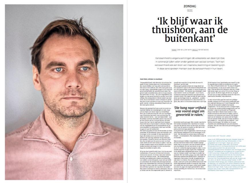 Auteur Auke Hulst Nederlands Dagblad in de serie 'Eenzaamheid'