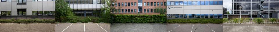 Nederland, Amsterdam, 01-05-2020 Lege parkeerplaatsen bij het businesspark in Zuid-Oost Amsterdam.