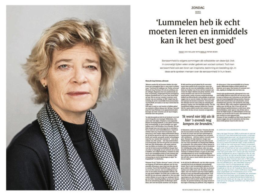 Advocaat Marry de Gaay Fortman. Nederlands Dagblad in de serie 'Eenzaamheid'