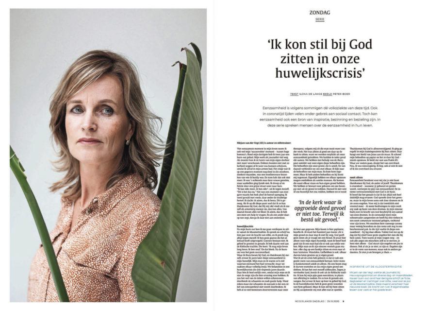 Stiltecoach en auteur Mirjam van der Vegt. Nederlands Dagblad in de serie 'Eenzaamheid'.