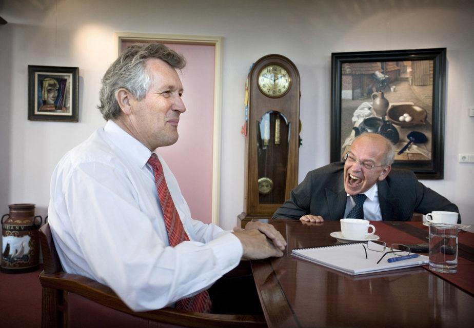 Nederland, Wognum, 20-05-2008 Dirk Scheringa, bestuursvoorzitter DSB BAnk en de CFO Gerrit Zalm in de bestuurskamer. Foto: Peter Boer
