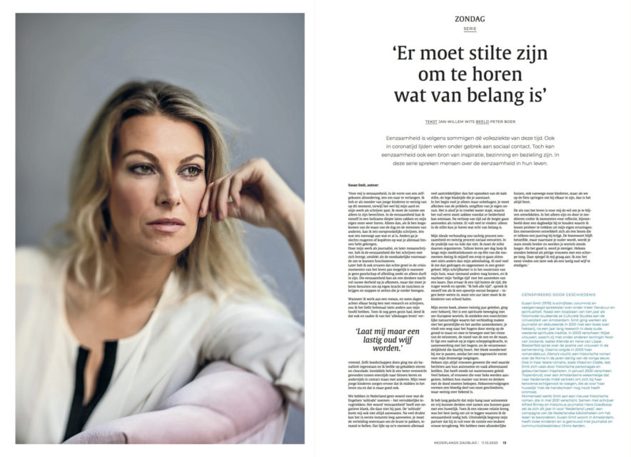 Auteur Susan Smit, Nederlands Dagblad, in de serie 'Eenzaamheid'